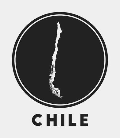 Chile icon. Round logo with country map and title. Stylish Chile badge with map. Vector illustration.