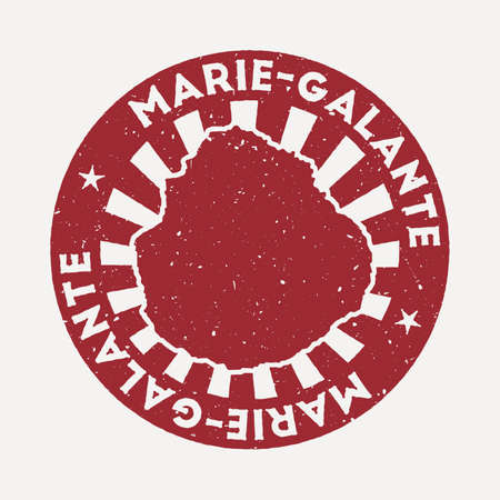 Marie-Galante stamp. Travel red rubber stamp with the map of island, vector illustration. Can be used as insignia, logotype, label, sticker or badge of the Marie-Galante.