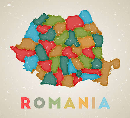 Romania map. Country poster with colored regions. Old grunge texture. Vector illustration of Romania with country name. 向量圖像