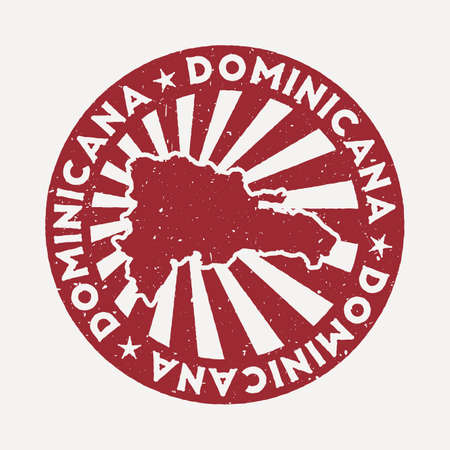 Dominicana stamp. Travel red rubber stamp with the map of country, vector illustration. Can be used as insignia, logotype, label, sticker or badge of the Dominicana.