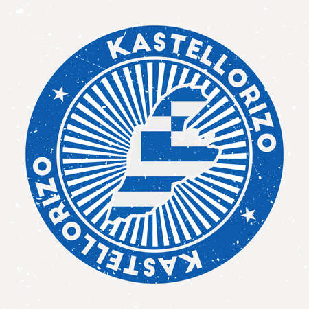 Kastellorizo round stamp. Logo of island with flag. Vintage badge with circular text and stars, vector illustration.