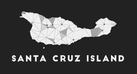 Santa Cruz Island - communication network map of island. Santa Cruz Island trendy geometric design on dark background. Technology, internet, network, telecommunication concept. Vector illustration.