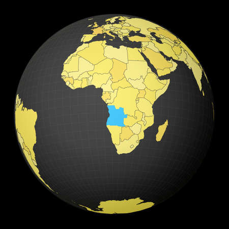 Angola on dark globe with yellow world map. Country highlighted with blue color. Satellite world projection centered to Angola. Appealing vector illustration.