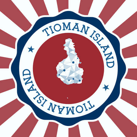 Tioman Island Badge. Round logo of island with triangular mesh map and radial rays. EPS10 Vector.