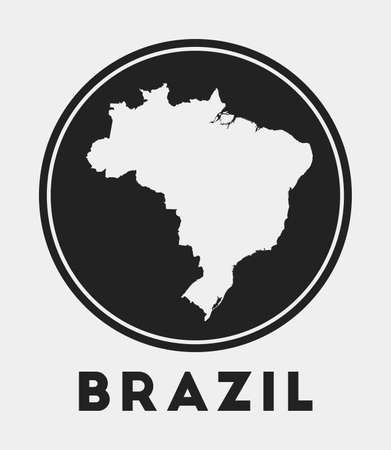 Brazil icon. Round logo with country map and title. Stylish Brazil badge with map. Vector illustration. 向量圖像