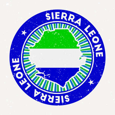 Sierra Leone round stamp. Logo of country with flag. Vintage badge with circular text and stars, vector illustration.
