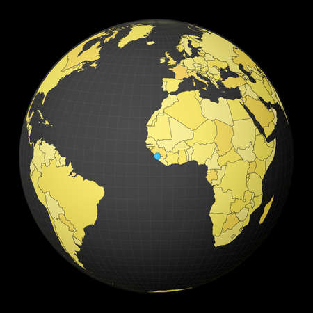 Sierra Leone on dark globe with yellow world map. Country highlighted with blue color. Satellite world projection centered to Sierra Leone. Captivating vector illustration. 向量圖像