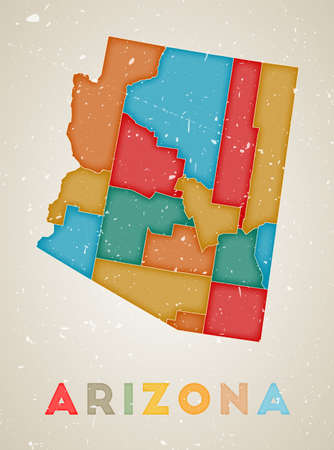 Arizona map. Us state poster with colored regions. Old grunge texture. Vector illustration of Arizona with us state name.