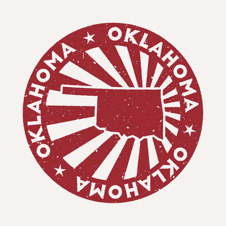 Oklahoma stamp. Travel red rubber stamp with the map of us state, vector illustration. Can be used as insignia, logotype, label, sticker or badge of the Oklahoma.