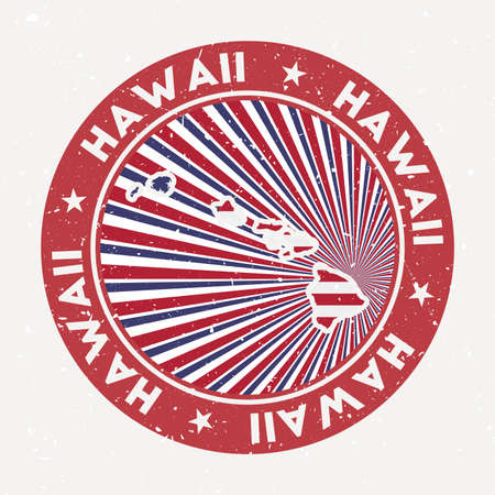 Hawaii round stamp. Logo of island with flag. Vintage badge with circular text and stars, vector illustration. 向量圖像