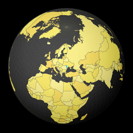 Moldova on dark globe with yellow world map. Country highlighted with blue color. Satellite world projection centered to Moldova. Classy vector illustration. Vektorové ilustrace