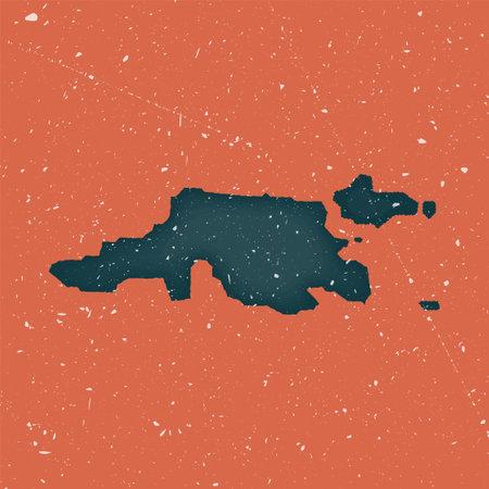 Jost Van Dyke vintage map. Grunge map of the island with distressed texture. Jost Van Dyke poster. Vector illustration.