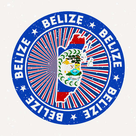 Belize round stamp. Logo of country with flag. Vintage badge with circular text and stars, vector illustration.