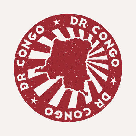 DR Congo stamp. Travel red rubber stamp with the map of country, vector illustration. Can be used as insignia, logotype, label, sticker or badge of the DR Congo.