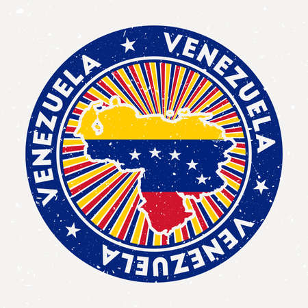 Venezuela round stamp. Logo of country with flag. Vintage badge with circular text and stars, vector illustration.