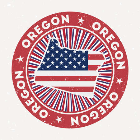 Oregon round stamp us state with flag. Vintage badge with circular text and stars, vector illustration. Illusztráció