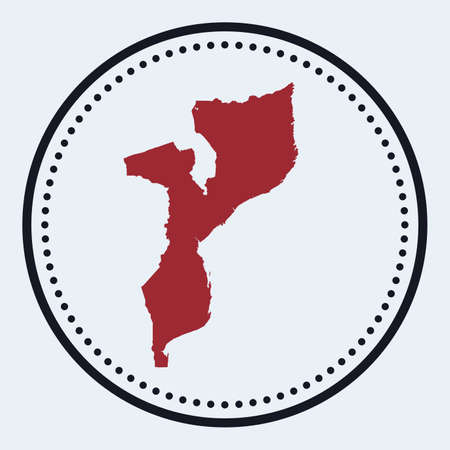 Mozambique round stamp. Round with country map and title. Stylish minimal Mozambique badge with map. Vector illustration.