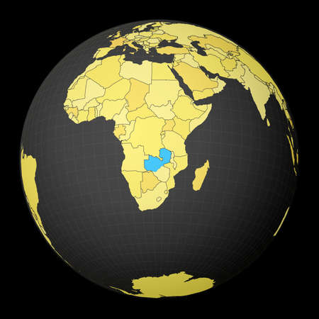Zambia on dark globe with yellow world map. Country highlighted with blue color. Satellite world projection centered to Zambia. Superb vector illustration.
