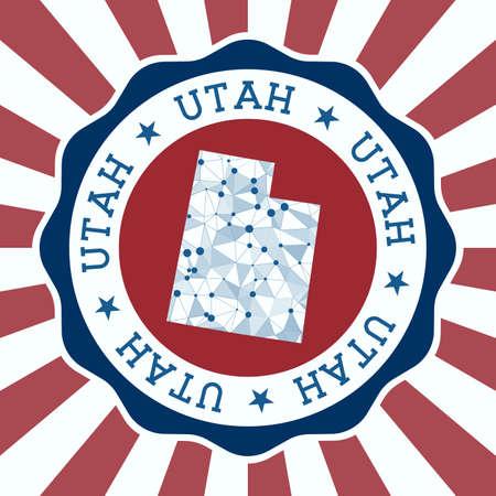 Utah Badge of us state with triangular mesh map and radial rays. Illusztráció