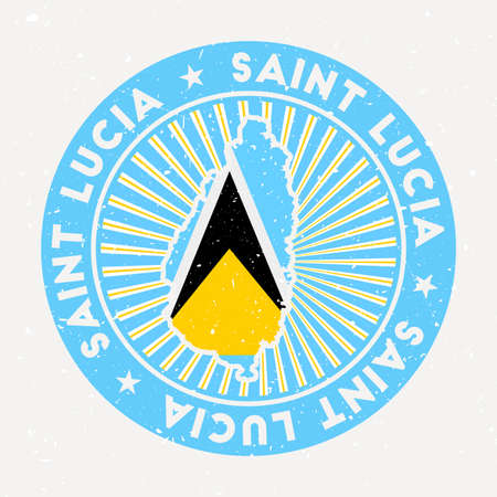 Saint Lucia round stamp of island with flag. Vintage badge with circular text and stars, vector illustration.