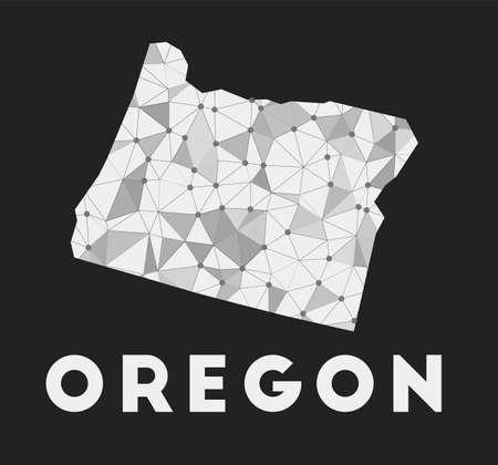 Oregon - communication network map of us state. Oregon trendy geometric design on dark background. Technology, internet, network, telecommunication concept. Vector illustration.