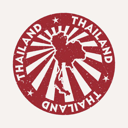 Thailand stamp. Travel red rubber stamp with the map of country, vector illustration. Can be used as insignia, logotype, label, sticker or badge of the Thailand.