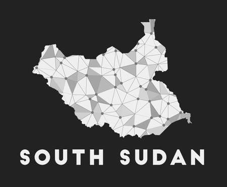 South Sudan - communication network map of country. South Sudan trendy geometric design on dark background. Technology, internet, network, telecommunication concept. Vector illustration.