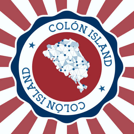 Colon Island Badge. Round of island with triangular mesh map and radial rays.