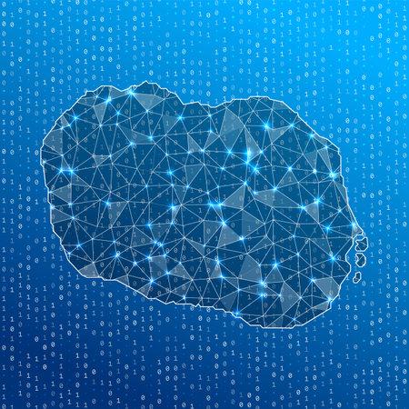 Network map of Rarotonga. Island digital connections map. Technology, internet, network, telecommunication concept. Vector illustration.