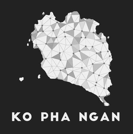 Ko Pha Ngan - communication network map of island. Ko Pha Ngan trendy geometric design on dark background. Technology, internet, network, telecommunication concept. Vector illustration.