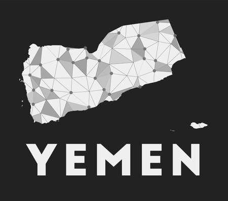 Yemen - communication network map of country. Yemen trendy geometric design on dark background. Technology, internet, network, telecommunication concept. Vector illustration.