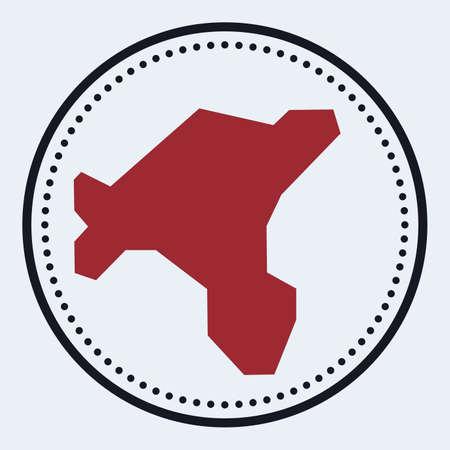 Salt Island round stamp. Round with island map and title. Stylish minimal Salt Island badge with map. Vector illustration.