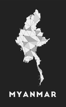 Myanmar - communication network map of country. Myanmar trendy geometric design on dark background. Technology, internet, network, telecommunication concept. Vector illustration. Illusztráció