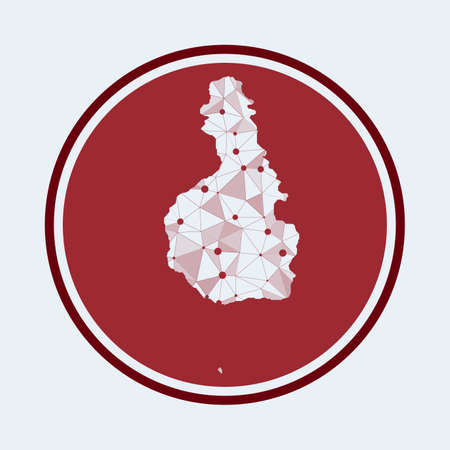 Tioman Island icon. Trendy tech of the island. Geometric mesh round design. Technology, internet, network, telecommunication concept. Vector illustration.