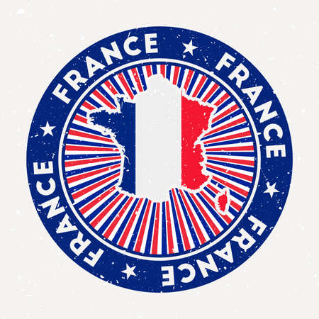 France round stamp of country with flag. Vintage badge with circular text and stars, vector illustration. Illusztráció