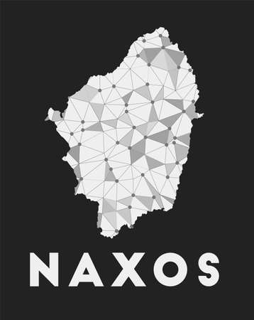Naxos - communication network map of island. Naxos trendy geometric design on dark background. Technology, internet, network, telecommunication concept. Vector illustration.
