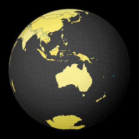 Fiji on dark globe with yellow world map. Country highlighted with blue color. Satellite world projection centered to Fiji. Captivating vector illustration. Illusztráció
