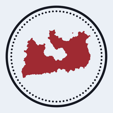 Milos round stamp. Round with island map and title. Stylish minimal Milos badge with map. Vector illustration.