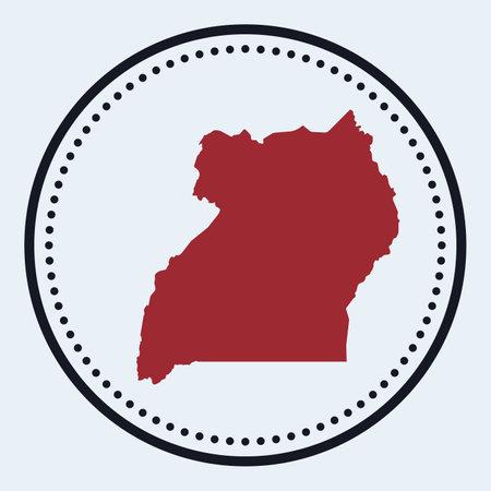 Uganda round stamp. Round with country map and title. Stylish minimal Uganda badge with map. Vector illustration.