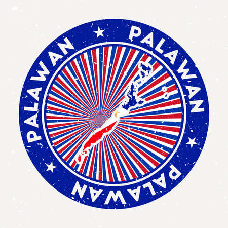 Palawan round stamp of island with flag. Vintage badge with circular text and stars, vector illustration.