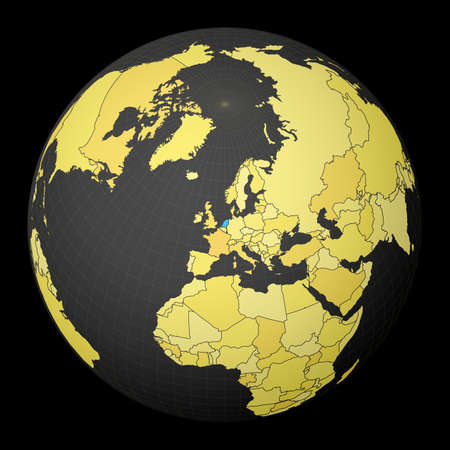 Netherlands on dark globe with yellow world map. Country highlighted with blue color. Satellite world projection centered to Netherlands. Authentic vector illustration.