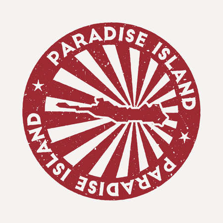 Paradise Island stamp. Travel red rubber stamp with the map of island, vector illustration. Can be used as insignia, logotype, label, sticker or badge of the Paradise Island.