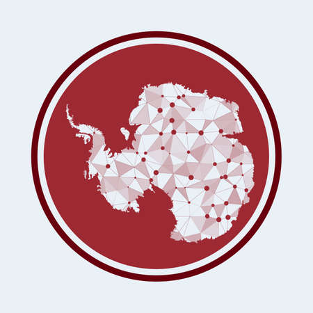 Antarctica icon. Trendy tech of the country. Geometric mesh round design. Technology, internet, network, telecommunication concept. Vector illustration.
