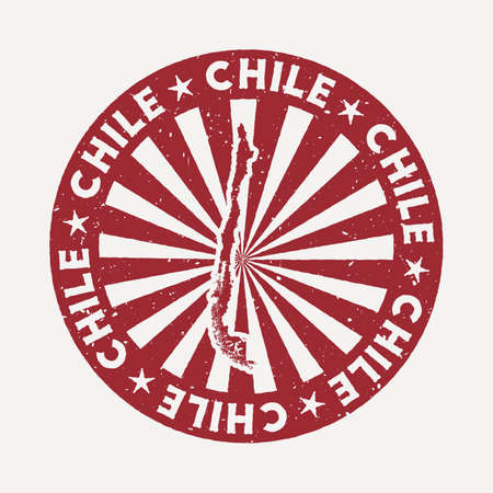 Chile stamp. Travel red rubber stamp with the map of country, vector illustration. Can be used as insignia, logotype, label, sticker or badge of the Chile.