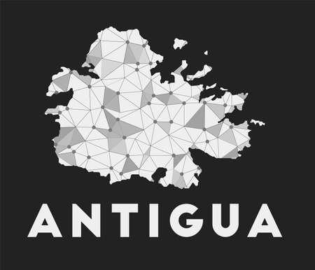Antigua - communication network map of island. Antigua trendy geometric design on dark background. Technology, internet, network, telecommunication concept. Vector illustration.