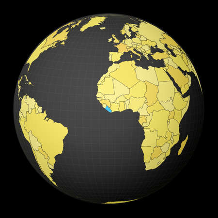 Liberia on dark globe with yellow world map. Country highlighted with blue color. Satellite world projection centered to Liberia. Artistic vector illustration.