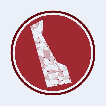 Delaware icon. Trendy tech of the us state. Geometric mesh round design. Technology, internet, network, telecommunication concept. Vector illustration. Illusztráció