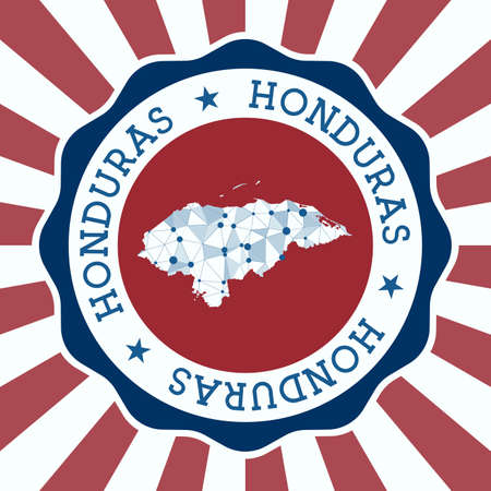 Honduras Badge. Round of country with triangular mesh map and radial rays.