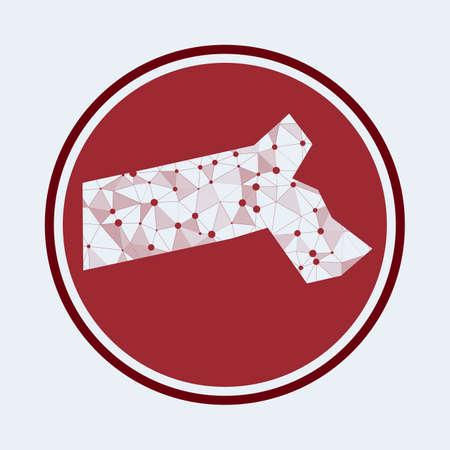 Massachusetts icon. Trendy tech of the us state. Geometric mesh round design. Technology, internet, network, telecommunication concept. Vector illustration.