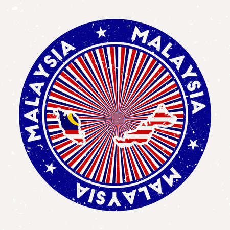 Malaysia round stamp of country with flag. Vintage badge with circular text and stars, vector illustration. Illusztráció
